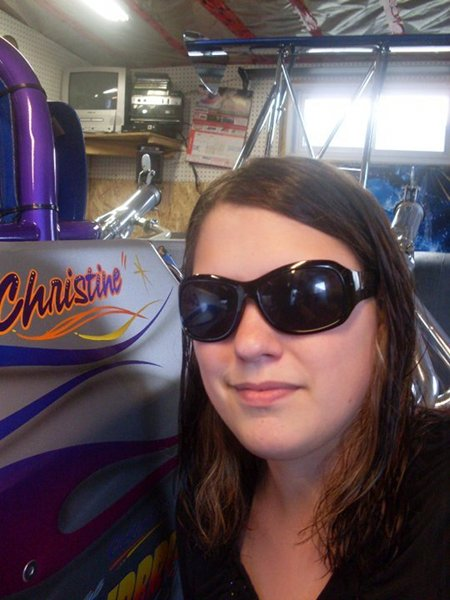 Christine and her dragster!